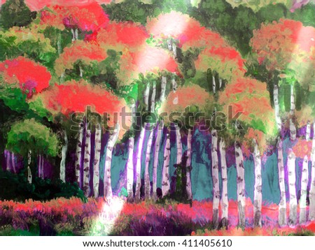 hand painted watercolor landscape, birch forest in the sunlight. painting.