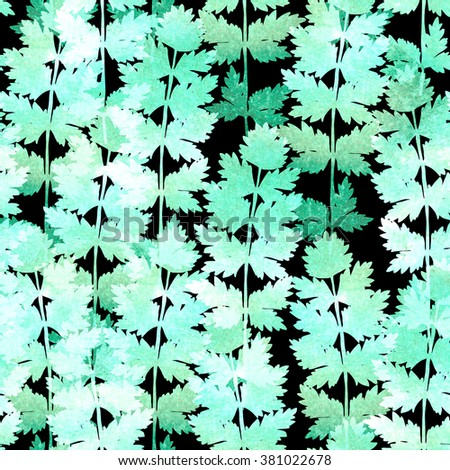 Hand painted watercolor leaves. Seamless pattern