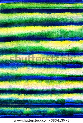 Hand painted watercolor lines Blue, yellow and green stripes