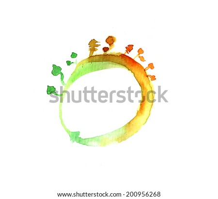 Hand painted watercolor picture of stylized recycling symbol with organic motives - stock photo