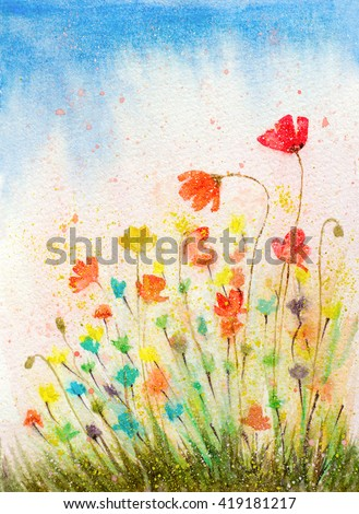 hand painted watercolor poppies flowers with textured color drops