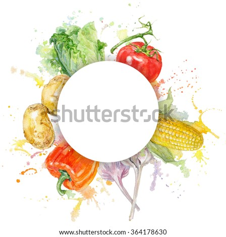 Hand painted watercolor round vegetable  frame with splashes on white background. Design for vegetarian menu, food, farmers production, grocery store.Can be used as logo design. With place for text. - stock photo