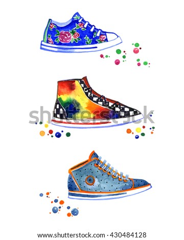 hand painted watercolor sneakers, running shoes, new style hippies, bright multicolored - stock photo