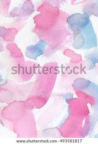 Hand painted Watercolor Wet Background. Blue and pink abstract background.
