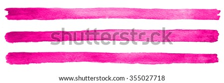 Hand painted watercolour pink magenta gradient brush stroke abstract background on textured paper - stock photo