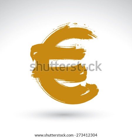 Hand-painted yellow Euro icon isolated on white background, European currency symbol created with real ink hand drawn brush scanned and vectorized. - stock photo