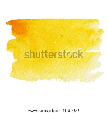 Hand painted yellow watercolor background. Watercolor brush strokes.