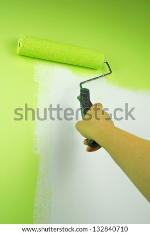 hand painting wall in green - stock photo