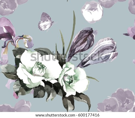 Hand painting white flowers iris crocus stock illustration 600177416 hand painting white flowers iris and crocus watercolor on grey blue background seamless pattern for textile mightylinksfo