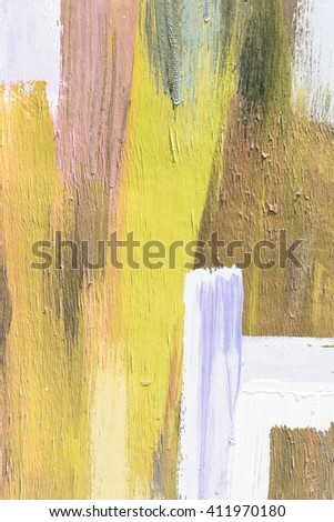 Hand painting yellow and white abstract art painting - stock photo