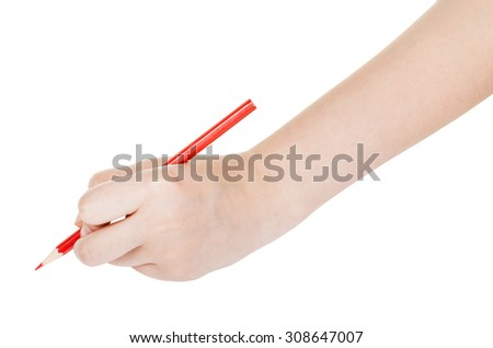 hand paints by red pencil isolated on white background