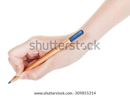 hand paints by wood blue pencil isolated on white background