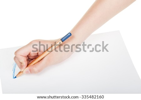 hand paints by wood blue pencil on sheet of paper isolated on white background