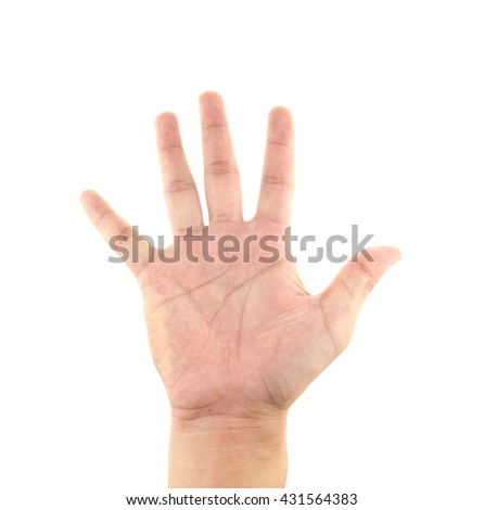 Hand palm isolated on white background