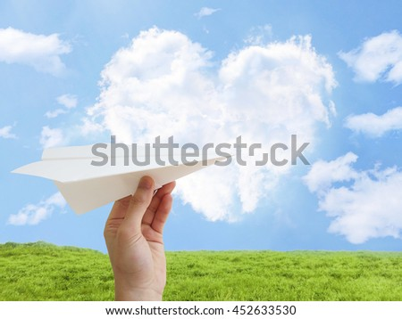 hand paper airplane heart cloud