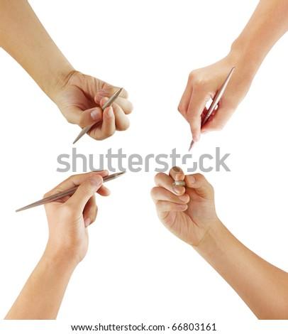 Hand pen on white background - stock photo