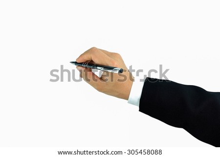 hand pen top view Writing on white background - stock photo