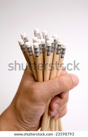 hand photo shot of pencils
