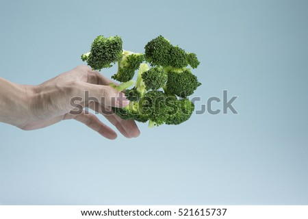 Hand pick Broccoli on blue background.Healthy concept.