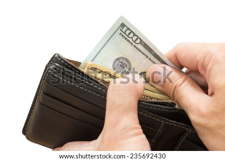 hand picking dollar bill from wallet, isolated - stock photo