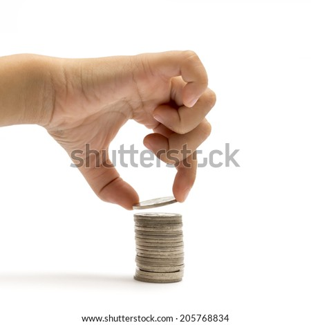 Hand picking up coin.