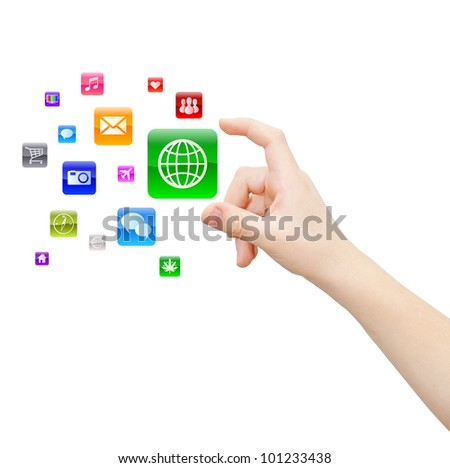 Hand picks up one of abstract applications, isolated on white, clipping path - stock photo