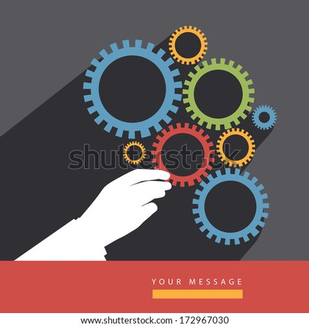 Hand placing gear in corporate machine. Flat design. - stock photo