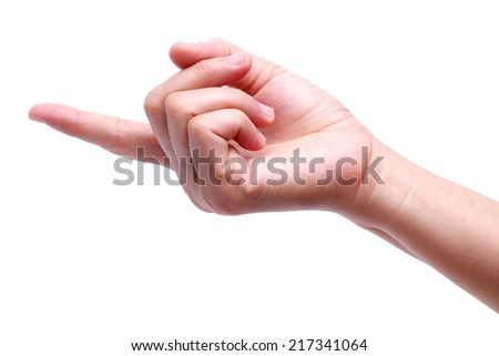 hand point isolated on white background.