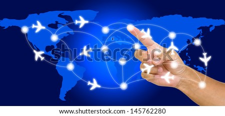 Hand point on airline route with world map background - stock photo