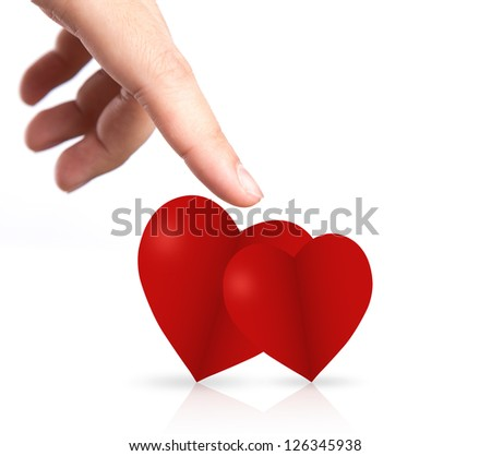 Hand point to two heart