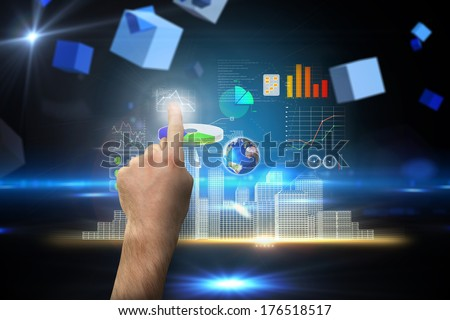 Hand pointing against boxes on technical background, elements of this image furnished by NASA