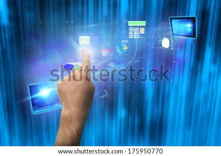Hand pointing against futuristic blue black background
