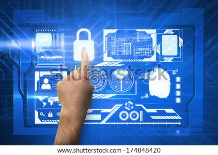 Hand pointing against futuristic blue circuit board - stock photo