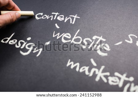 Hand pointing at Content word of Website Creation concept on chalkboard - stock photo