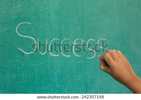 Hand pointing at success concept on chalkboard - stock photo