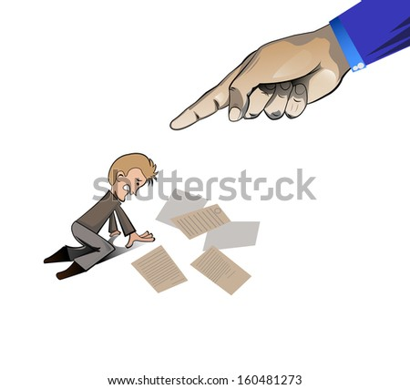 hand pointing at the man for his  fault on white background