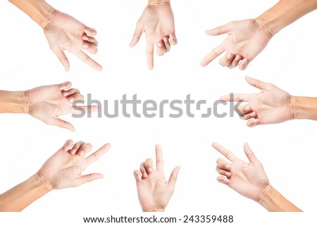 Hand pointing direction the center point   on white background