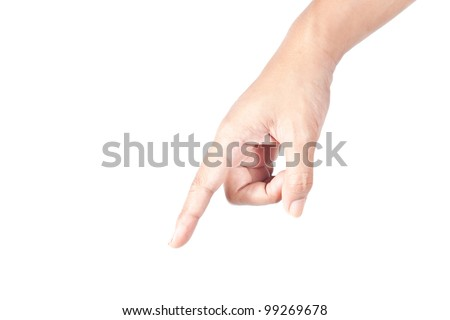 Hand pointing down forward on white background - stock photo
