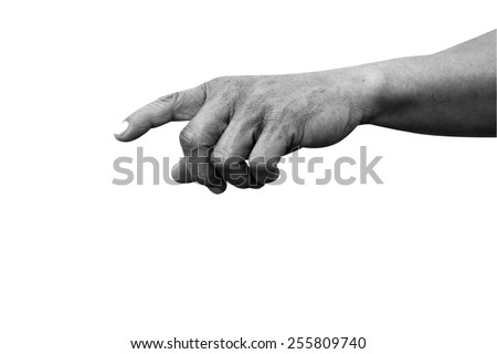 hand pointing index finger black and white isolated with path - stock photo