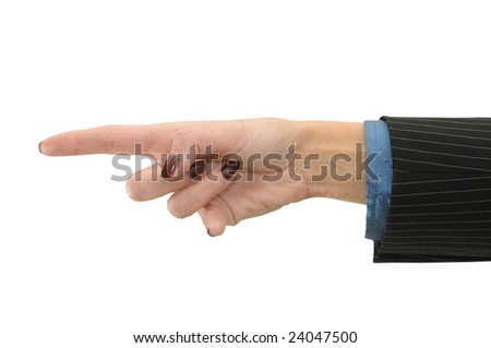 Hand pointing isolated in white