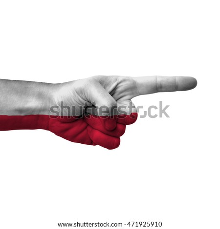 Hand Pointing Right Side Poland Painted Stock Photo 471925910