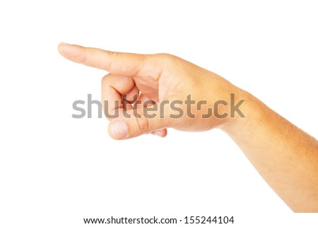 Hand pointing symbol isolated on white background