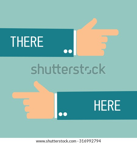 hand pointing there and here. left and right - stock photo