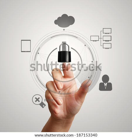 hand pointing to 3d padlock on touch screen computer as Internet security online business concept  - stock photo