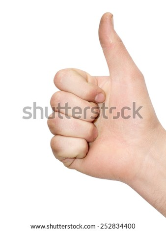 hand pointing to the top on a white background - stock photo