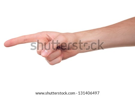 Hand pointing, touching or pressing, isolated on white background