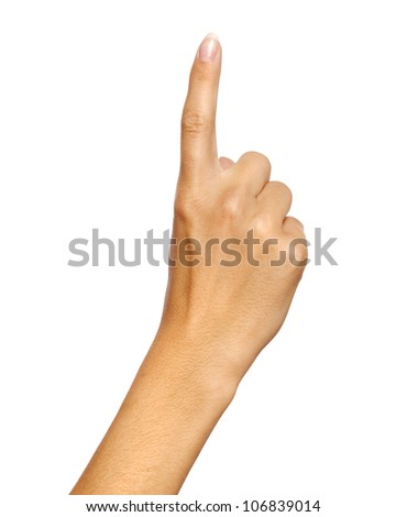 Hand pointing, touching or pressing over isolated background - stock photo