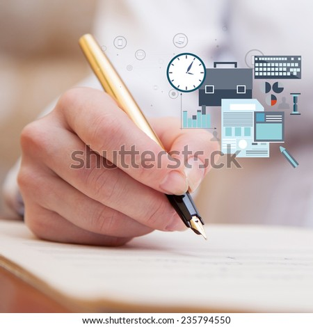 Hand pointing with pen to music book with handwritten notes - stock photo