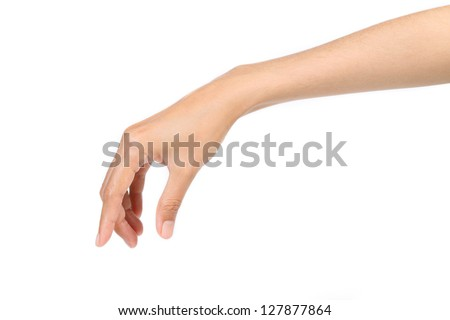 Hand pose like picking something isolated on white - stock photo