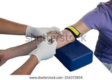 Hand prepare to give a blood for an examination - stock photo